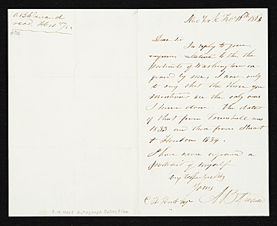 Asher Brown Durand, New York, N.Y. letter to unidentified recipient