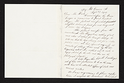 [Thomas Eakins, New York, N.Y. letter to Charles Henry Hart, New York, N.Y.]