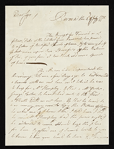 [John Singleton Copley letter to unidentified recipient]