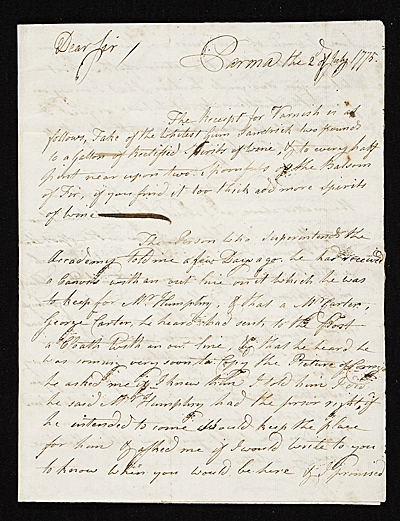 John Singleton Copley letter to unidentified recipient, Florence, Italy