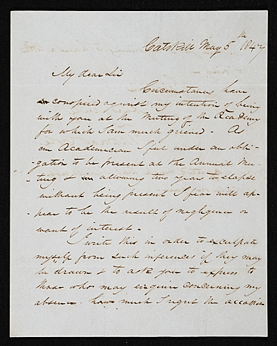 Thomas Cole, Catskill, N.Y. letter to Asher Brown Durand, New York, N.Y.
