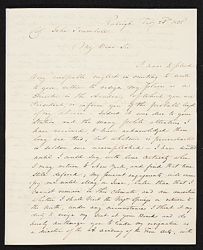 G. (George) Cooke, Raleigh, N.C. letter to John Trumbull, New York, N.Y.