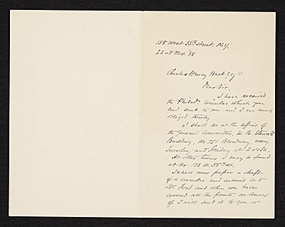William A. (William Anderson) Coffin, New York, N.Y. letter to Charles Henry Hart, New York, N.Y.