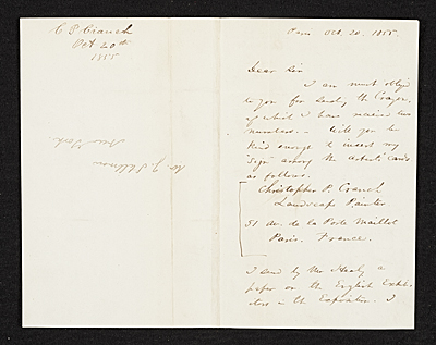 [Christopher Pearse Cranch, Paris, France letter to James Stillman, New York, N.Y.]