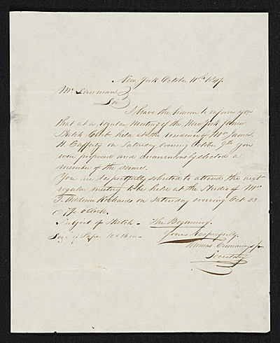 [Thomas Seir Cummings, New York, N.Y. letter to unidentified recipient]