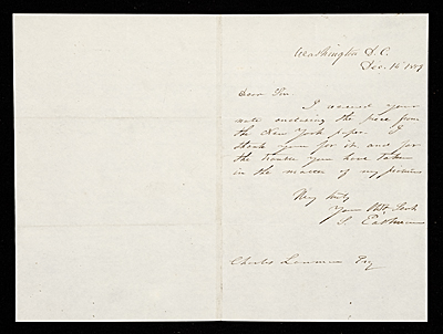 J. Eastman, Washington, D.C. letter to unidentified recipient