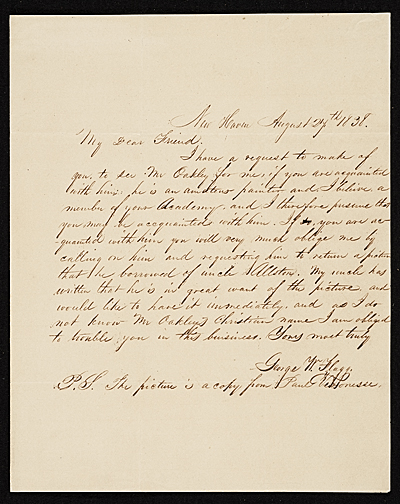 [George Flagg, New Haven, Conn. letter to Asher Brown Durand, New York, N.Y.]