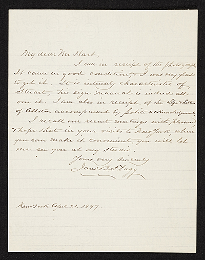 [Jared B. (Jared Bradley) Flagg, New York, N.Y. letter to Charles Henry Hart, New York, N.Y.]
