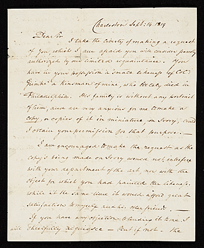 Charles Fraser, Charleston, S.C. letter to unidentified recipient