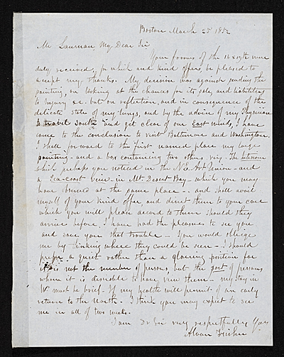 Alvan Fisher, Boston, Mass. letter to unidentified recipient