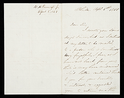 William Henry Furness, Philadelphia, Pa. letter to unidentified recipient