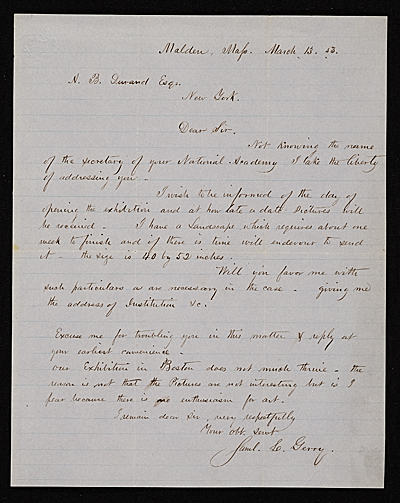 Samuel Lancaster Gerry, Malden, Ma. letter to Asher B. Durand