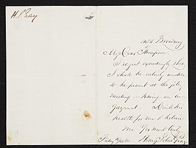 Henry Peters Gray, New York, N.Y. letter to unidentified recipient
