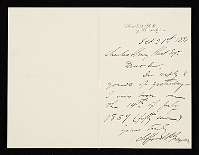 Clifford P. Grayson, Philadelphia, Pa. letter to Charles Henry Hart, New York, N.Y.