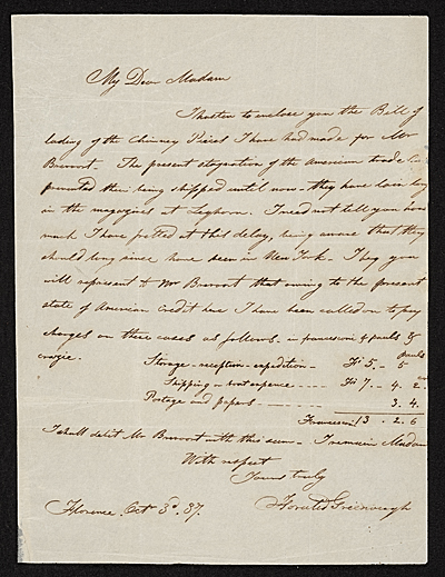 Horatio Greenough, Florence, Italy letter to unidentified recipient