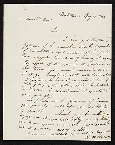 [Chester Harding, Baltimore, Md. letter to Asher Brown Durand, New York, N.Y.]