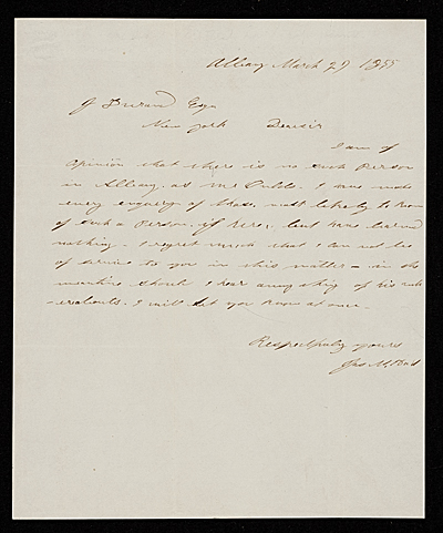 [James McDougal Hart, Albany, N.Y. letter to John Durand, New York, N.Y.]