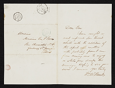 Unidentified sender letter to Benjamin Poore, Paris, France