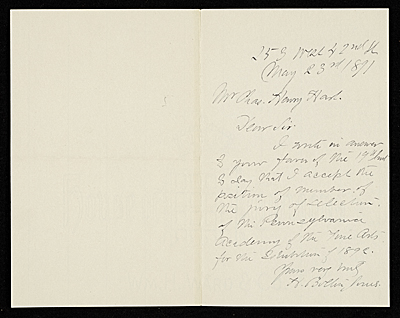 Unidentified sender, New York, N.Y. letter to Charles Henry Hart