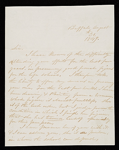 Thomas Le Clear, Buffalo, N.Y. letter to Asher Brown Durand, New York, N.Y.