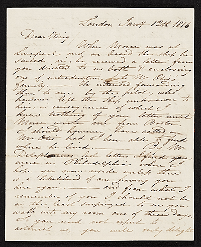 Charles R.  Leslie, London, England letter to Charles Bird King, Baltimore, Md.
