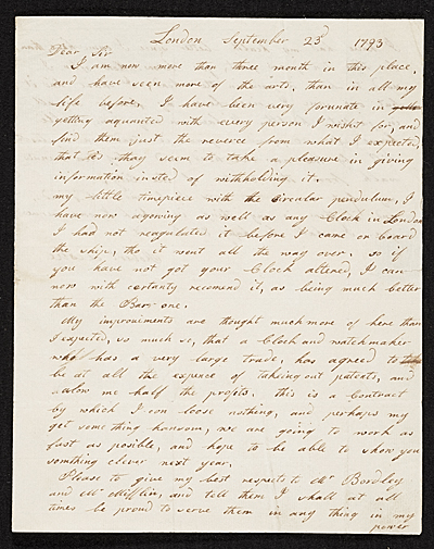 Robert Leslie, London, England letter to Charles Willson Peale, Philadelphia, Pa.