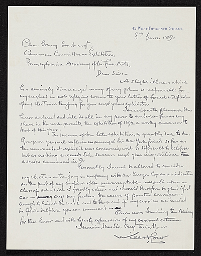 Will Hicok Low letter to Charles Henry Hart