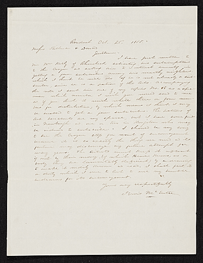 Jervis McEntee, Rondout, N.Y. letter to Asher Brown Durand