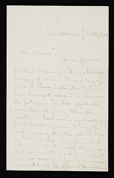 Larkin G. Mead, Jr., Brattleboro, Vt. letter to Asher Brown Durand