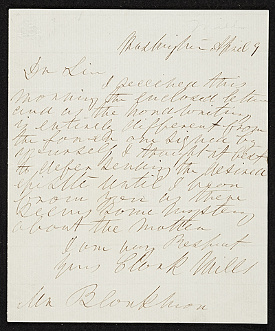 Clark Mills, Washington, D.C. letter to unidentified recipient