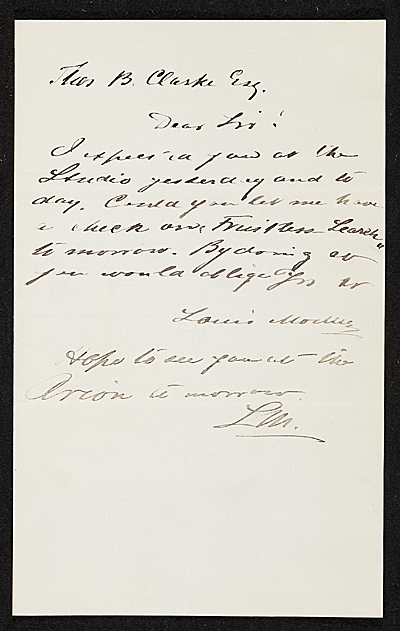 [Louis Moeller, New York, N.Y. letter to Thomas B. (Thomas Benedict) Clarke, New York, N.Y.]
