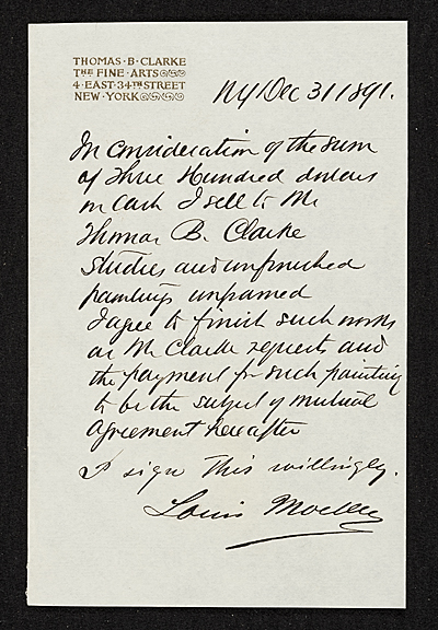 [Reciept of sale of studies and paintings by Louis Moeller to Thomas B. Clarke.]
