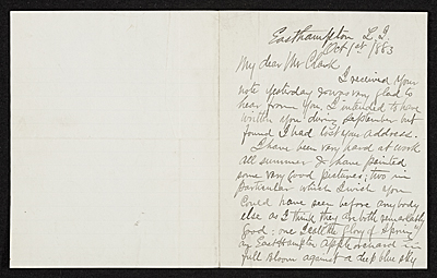 [Thomas Moran, East Hampton, N.Y. letter to unidentified recipient]