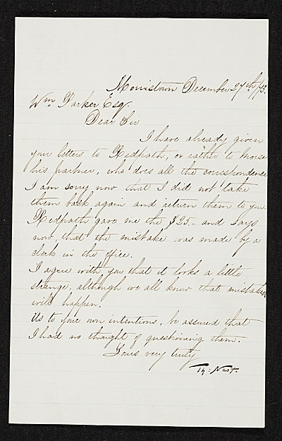 Thomas Nast, Morristown, N.J. letter to unidentified recipient