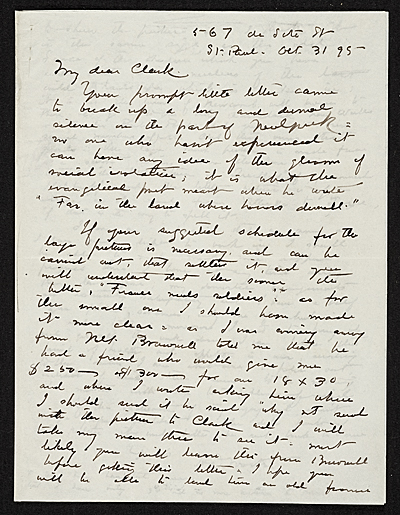Harrison S. Morris, St. Paul, Minn. letter to unidentified recipient