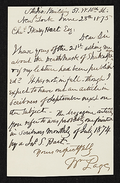 [William Page, New York, N.Y. letter to Charles Henry Hart, New York, N.Y.]