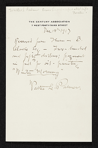 [Receipt for purchase by Thomas B. Clarke of the oil painting 'Winter Morning' from Walter L. Palmer]
