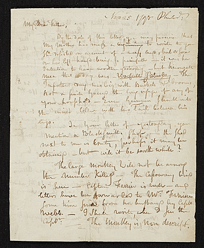 [Rembrandt Peale, Philadelphia, Pa. letter to Charles Willson Peale, New York, N.Y.]