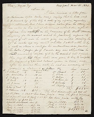 [Rubens Peale, New York, N.Y. letter to Charles F. (Charles Frederick) Mayer, Baltimore, Md.]