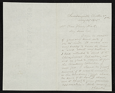 William Trost Richards, Chester Co., Pa. letter to Charles Henry Hart, New York, N.Y.