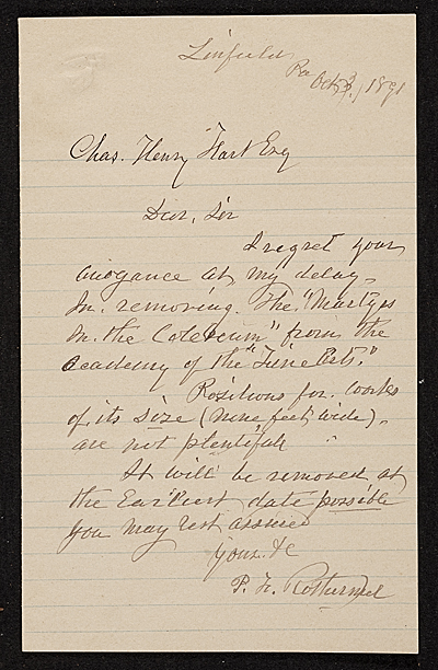 Peter Frederick Rothermel, Linfield, Pa. letter to Charles Henry Hart