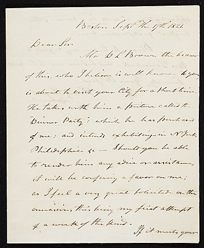 [Henry Sargent, Boston, Mass. letter to John Trumbull, New York, N.Y.]