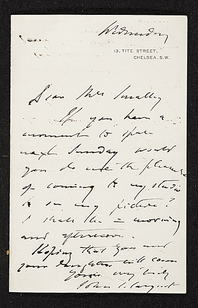 John Singer Sargent, Westminster, U.K. letter to unidentified recipient