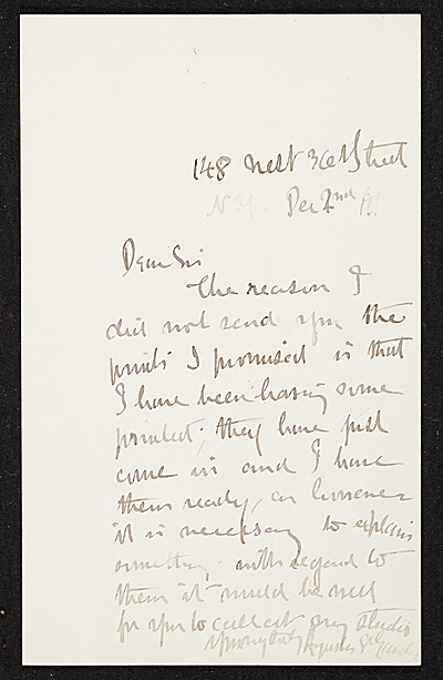 Augustus Saint-Gaudens, New York, N.Y. letter to unidentified recipient