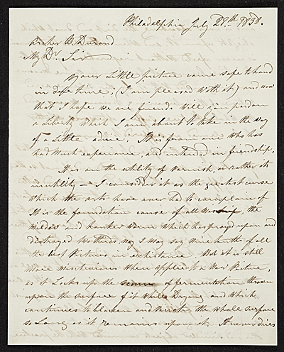 [Joshua Shaw, Philadelphia, Pa. letter to Asher Brown Durand, New York, N.Y.]