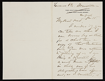 [W. T. (William Thomas) Smedley, Bronxville, N.Y. letter to Charles Henry Hart, New York, N.Y.]