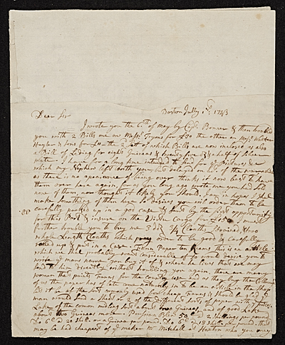 John Smibert, Boston, Mass. letter to unidentified recipient