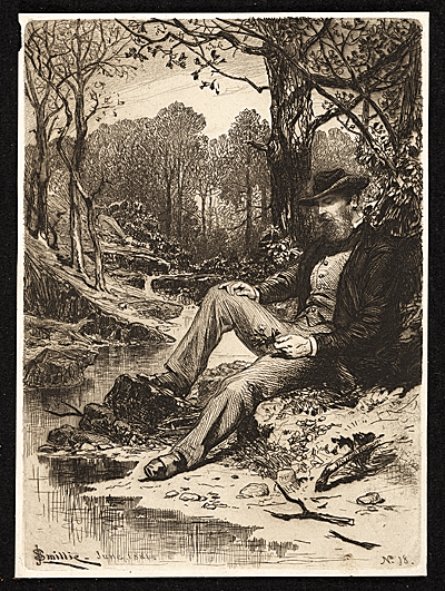Etching of a man sitting by a creek