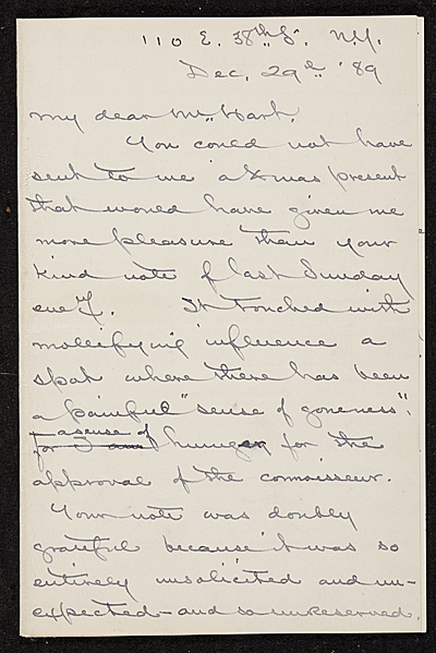 [James David Smillie, New York, N.Y. letter to Charles Henry Hart]