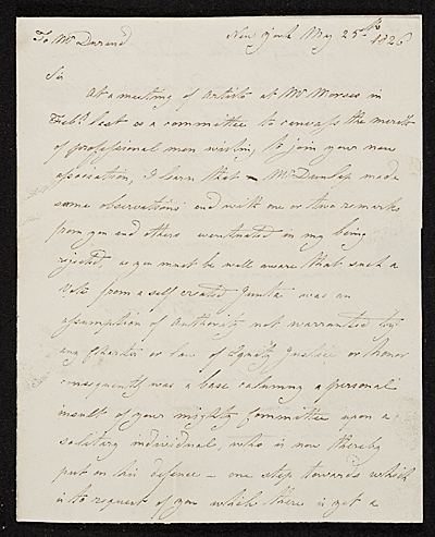 [John Rubens Smith, New York, N.Y. letter to Asher Brown Durand]